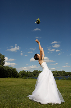 Bride gets tossed, along with the Bouquet!